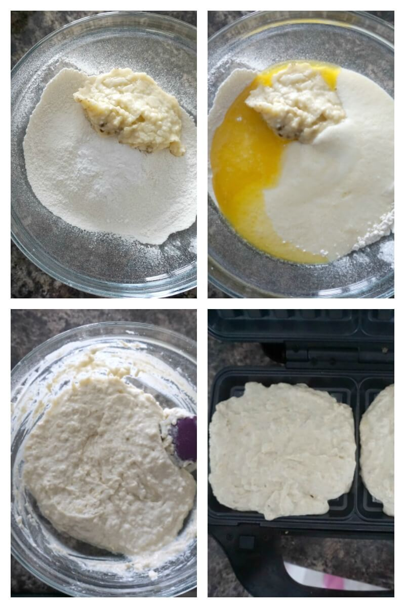 Collage of 4 photos to show how to make banana waffles