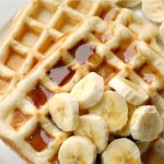 Healthy Banana Waffles with no added sugar, a simple, but delicious breakfast or brunch recipe for the whole family. The edges are crispy and perfectly golden, while the inside is fluffy and cooked to perfection. Buttery, but light, these banana waffles are a quick and easy treat for those lazy days when we feel like spoiling ourselves. Make sure the banana is ripe, so you can get a perfect suble sweetness without the need to add sugar. #bananawaffles, #waffles, #breakfast, #brunch, #healthyfood