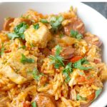 Chicken and chorizo jambalaya with a touch of cajun seasoning, a hearty midweek meal that can be on the table in about half an hour or so, and it's all cooked in one pot. Quick and easy to make, and big on flavours, this is the kind of meal that would be fit for king.  This chicken and chorizo rice makes a great dinner idea for the whole family. It's healthy, nutritious and delicious. #jambalaya, #chickenandchorizo, #onepotrecipes, #rice