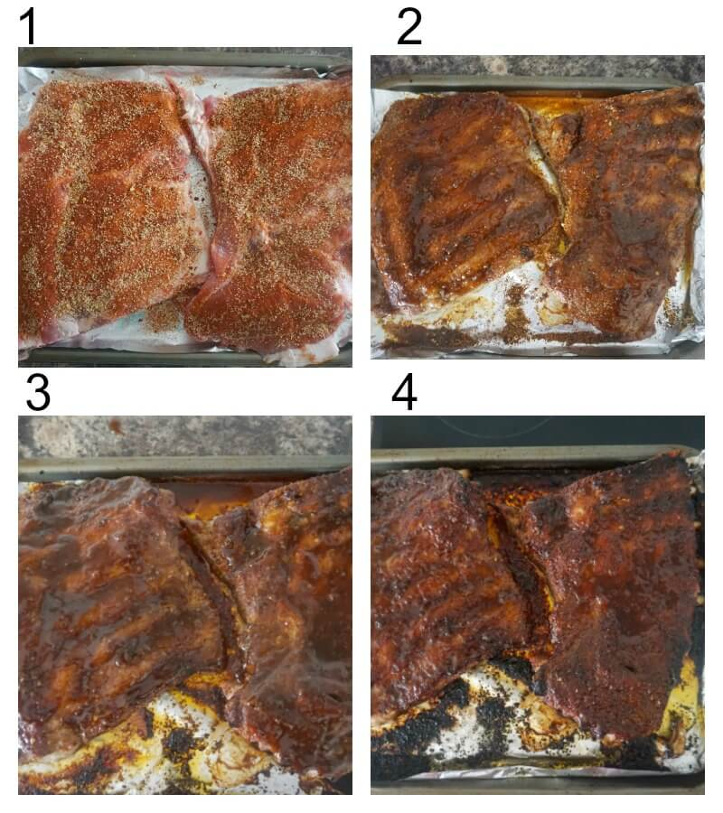 Collage of 4 photos to show how to make baked ribs with bbq sauce