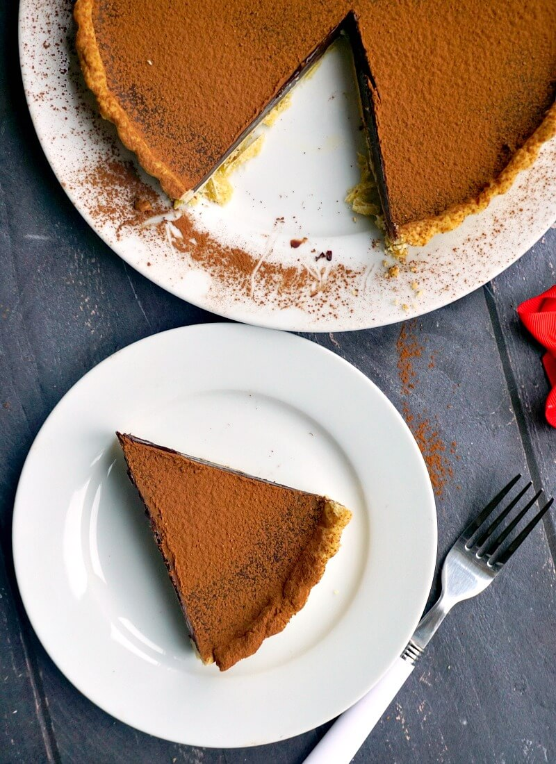 Overhead shoot of white plate with a slice of chocolate tart and another larger plate with the remaining tart