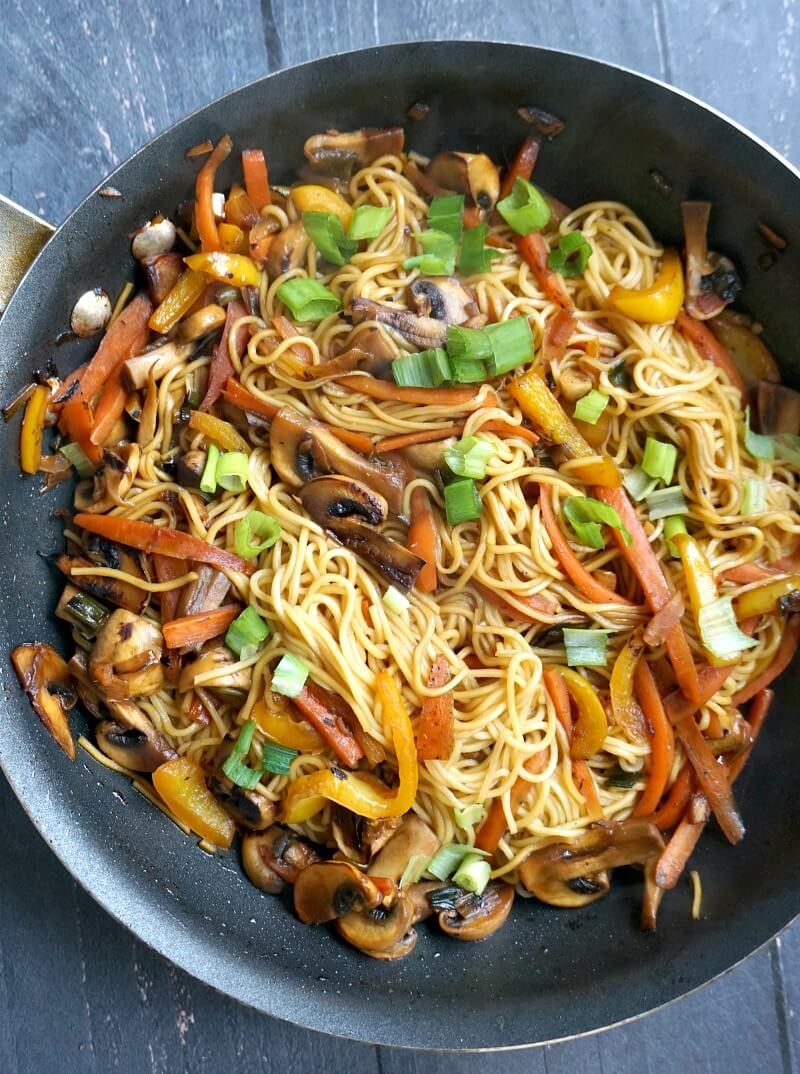 Overhead shoot of a pan with vegetable noodle stir fry
