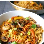 Vegetable Noodle Stir Fry or Vegetable Lo Mein, a delicious and healthy Chinese recipe that is ready from scratch in about 15 minutes. The sauce is easy to make at home, and you can use any vegetables you have around. Quick, simple, but big on flavours, this is a fantastic midweek dinner that can be enjoyed by the whole family. Why not have it for this Chinese New Year? My quick veggie lo mein is better than take away. #chinesenewyear, #chinesefood, #noodlestirfry, #vegetablelomein, #lomein