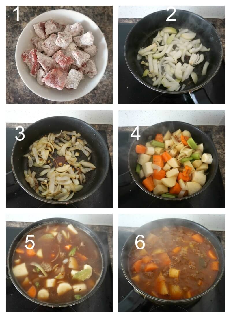Collage of 6 photos to show how to make Irish beef stew with guinness beer