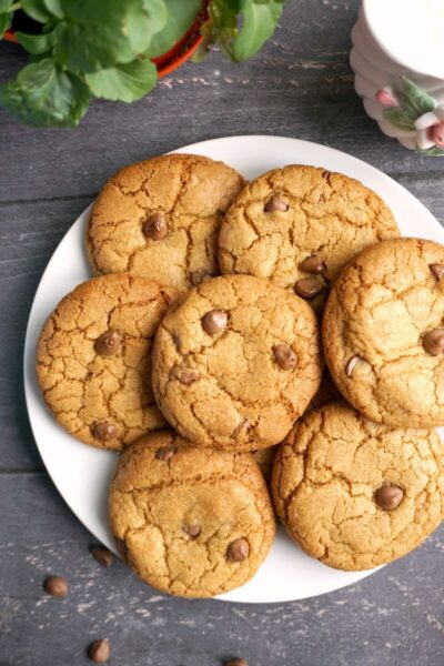 Overhead shoot of a white plate with chocolate chip cookies