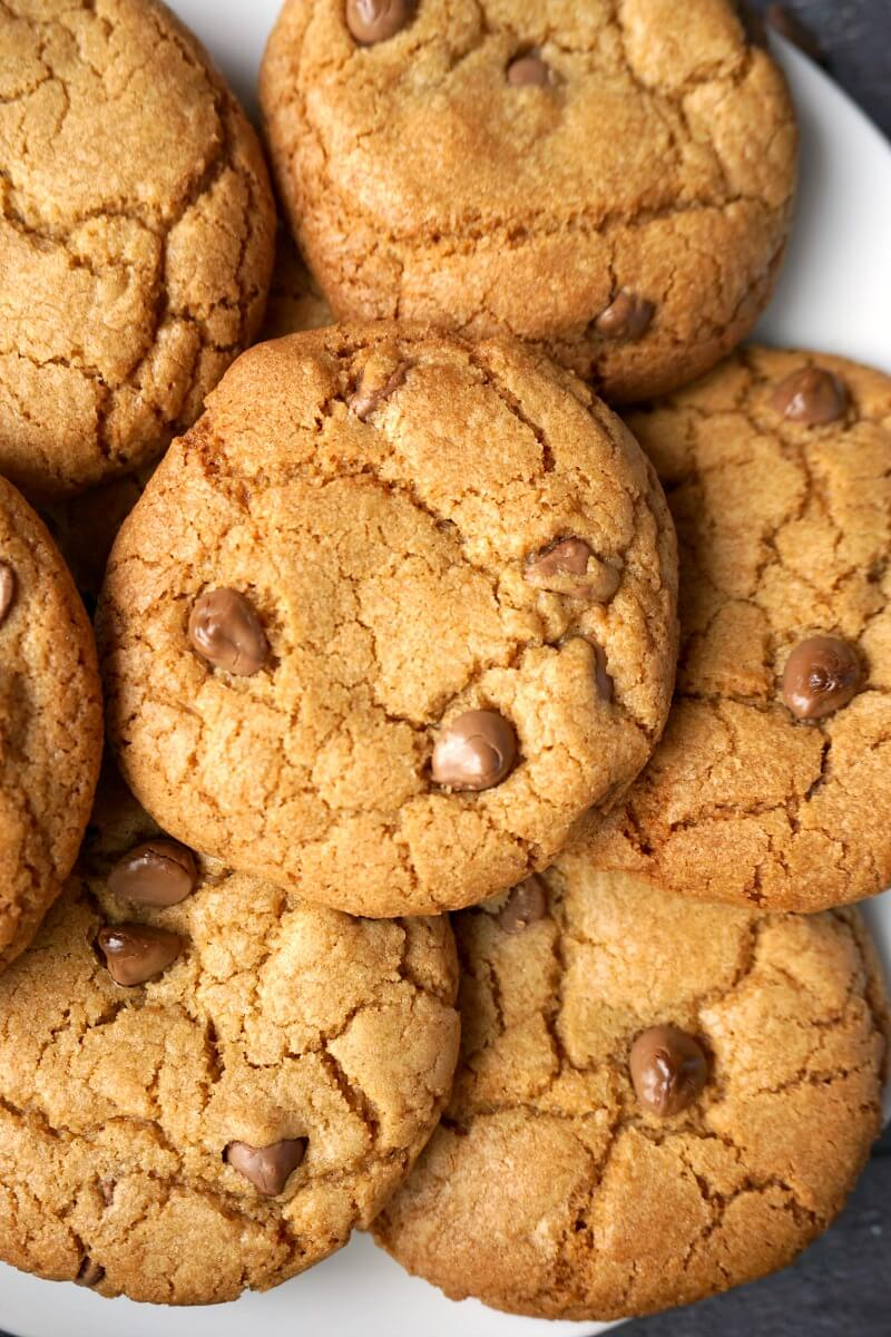 Close-up shoot of choc chip cookies
