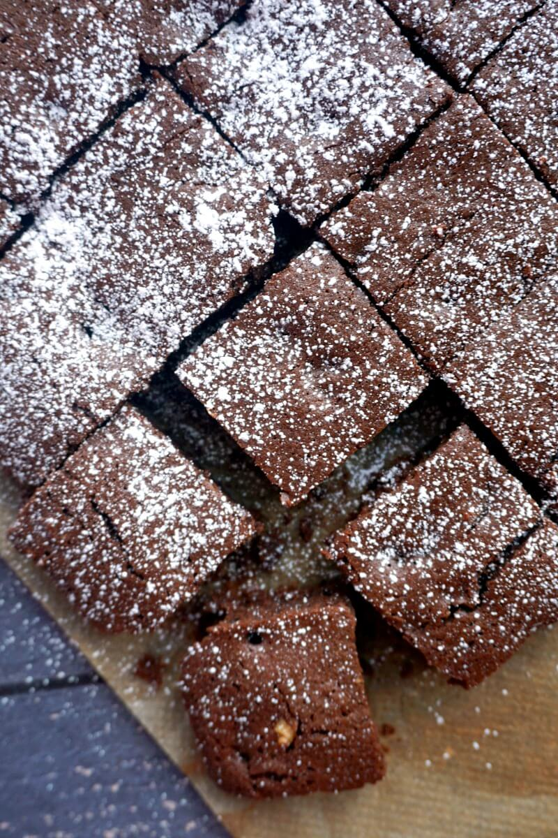 Overhead shoot of brownie squares