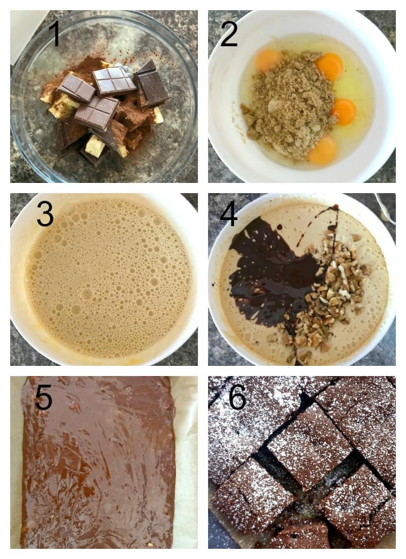 Collage of 6 photos to show how to make walnut brownies